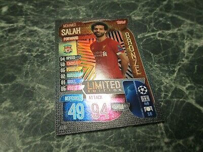 Match Attax Attack 2019/20 19/20 LE1B Mohamed Salah Bronze Limited Edition Card