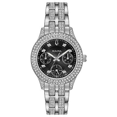 Bulova Women's Quartz Swarovski Crystal Silver-Tone Black Dial 33mm Watch 96N110