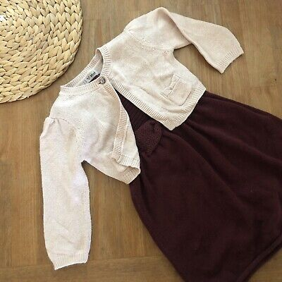 Girls NEXT Outfit/Set Knitted Dress & Cardigan Winter/Autumn/Christmas Age 2-3