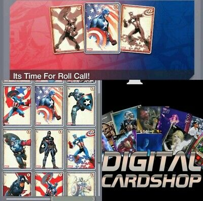 Topps Marvel Collect Card Trader CAPTAIN AMERICA ROLL CALL  Blue Set of 12