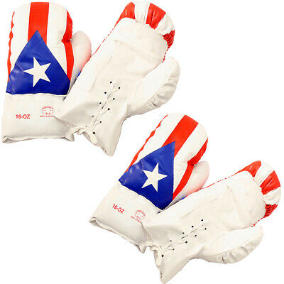 Puerto Rico 16 Oz. Boxing Gloves 2 Pair Vinyl Leather Glove Practice & Training