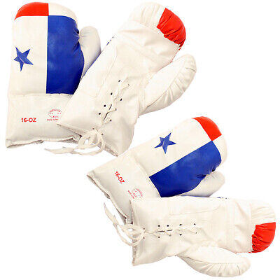 Panama Flag 16 Oz Boxing Gloves Two Pairs Vinyl Leather Gloves Practice Training