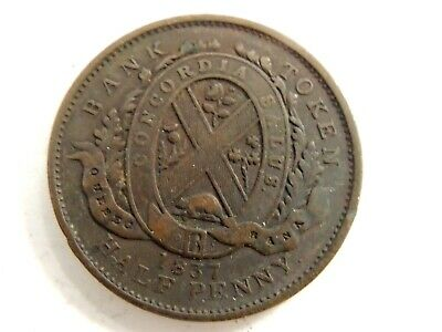 1837 Canadian Half (1/2) Penny Quebec Bank Token
