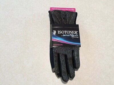 Isotoner Gloves with SmarTouch Technology For Women Size M/L Gray & Black