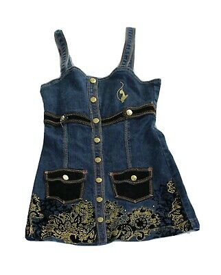 Girl's Authentic Baby Phat Denim Jean Dress with Gold Embellishments Pockets, M
