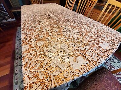 Antique c 1890 Needle Lace Figural Tablecloth Deer, Elephants & Birds