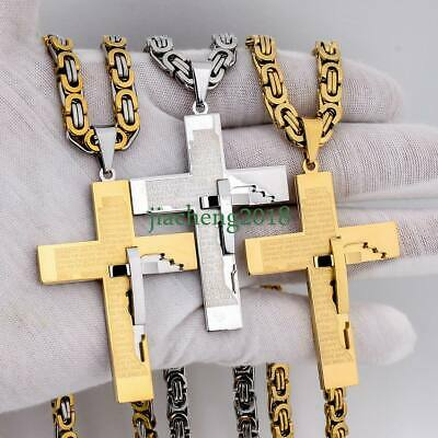 6mm Gold Silver Byzantine Box Men Chain Stainless Steel Cross Pendant + Necklace