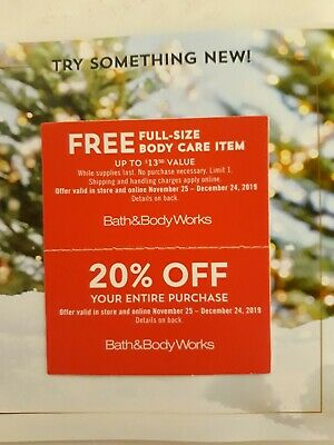 Bath & Body Works Coupons Expires December 24th