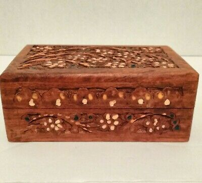 Wooden Jewelry Box Trinket Holder Handmade Carving Inlay Hinged Lid