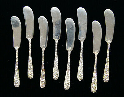 """Lot Of 8 Stieff ROSE Sterling Silver Flat Handle Butter Spreaders 6"""" B0865"""