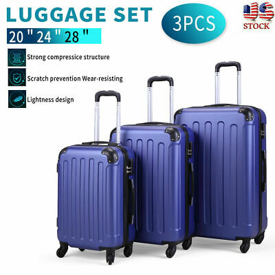 BHC 3PCS Travel Luggage Carry On Set Trolley Suitcase Spinner ABS w/Cover