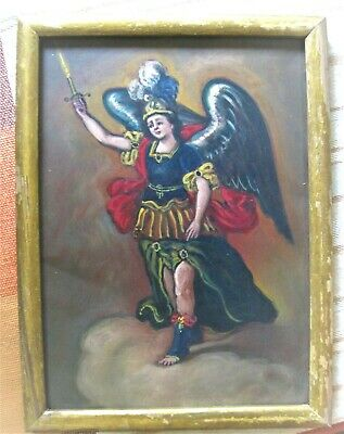 Wonderful Retablo On Tin With Image Of Archangel Michael Framed