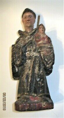 Antique Hand Carved Wood Santo Saint Anthony And Baby Jesus
