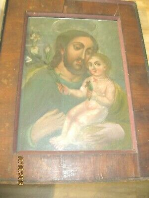 Antique Retablo On Tin Saint  Joseph Holding Baby Jesus Framed Beautiful Piece
