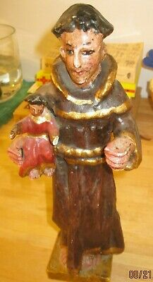 Mid 1900'S Carved Wood Saint Anthony Great Collectable