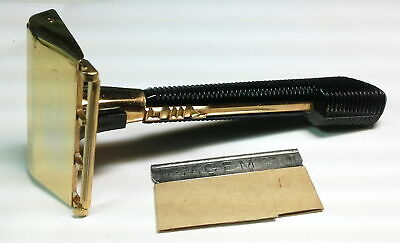 GEM Push-Button Single Edge Safety Razor, Gold Plated