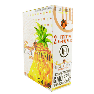 High Hemp Organic Wrap Pineapple Paradise Full Box 25 Pouches, 2 Wraps per Pouch