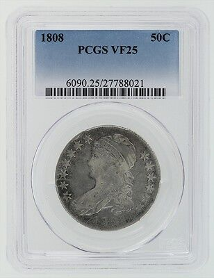1808 Capped Bust Half Dollar PCGS VF 25 Cert# 27788021 (PCGS Value $275 11.21.19