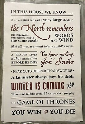 "Game Of Thrones ""In This House We Know"" Poster Barnes & Noble Exclusive"