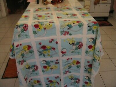 Beautiful Vintage Retro Tablecloth With Fruit Baskets