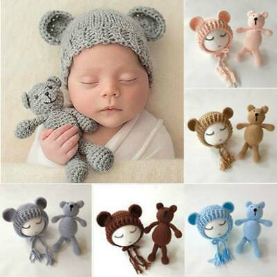 Newborn Baby Crochet Knitted Hat Cute Bear Toys Photography Prop Costumes Set