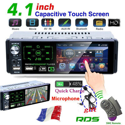 1 DIN Autoradio Touch Screen Stéréo Bluetooth Voiture MP5 Player RDS FM AUX Mic