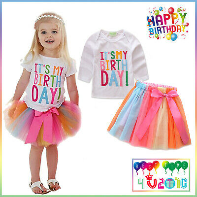 It's My Birthday Tutu Tulle Dress Set Girls Party Skirt T-shirt Outfit Casual