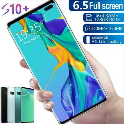 S10+ 6.5'' 6+128G Unlocked Smart Phone Android 9.1 Full HD Dual SIM Mobile 3G