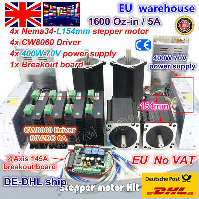 【UK】4 Axis Nema34 154mm Stepper Motor 1600Oz-in Dual Shaft&6A 80V Driver CNC Kit