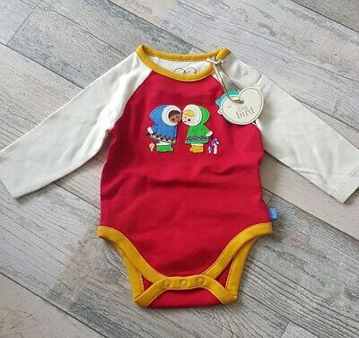 Mothercare Little Bird Jools Red Eskimo Kiss Long Sleeve Bodysuit 3-6 Months