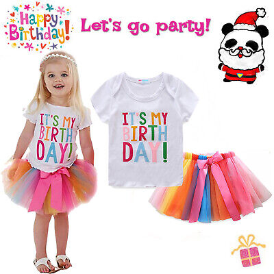 It's My Birthday Tutu Tulle Dress Up Princess Unicorn T-shirt Skirt Party Outfit