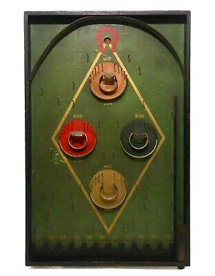 Early 20Th C Vint Lindstorm Hy-Ball Painted Wood/Litho'd Hardboard Pinball Game