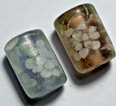 FANTASTIC LOT OF 2 pcs OLD OJIME GLASS RARE BEADS AMAZING VERY NICE