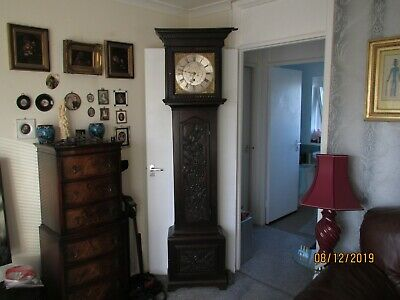 2 Antique grandfather clocks easy repairs + brass face clock movement