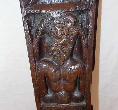 Unusual 16th Century Carved Oak Panel Depicting Cyclops or Triton