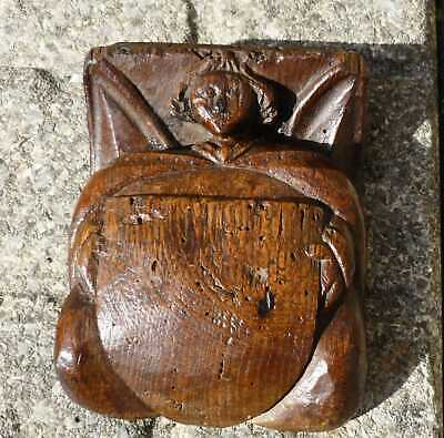 Rare 16th Century English Carved Oak Church Angel Boss
