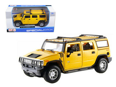 2003 Hummer H2 Suv Yellow 1:27 Diecast Model Car By Maisto 31231