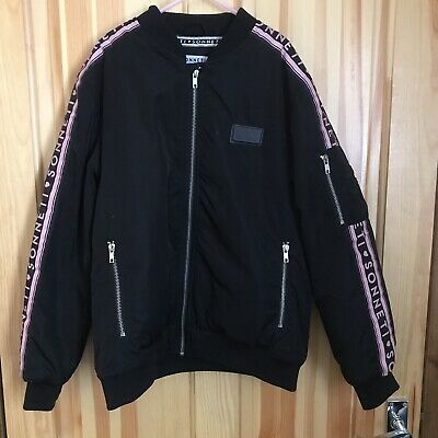 Girls Black Sonneti Bomber Jacket With Branded Logo & Pink Lining - Age 12-13