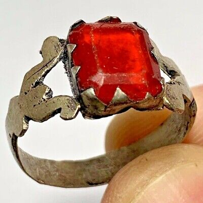 ANCIENT ROMAN SILVER RING WITH VERY RARE RED STONE 2.9gr 27mm (inner 22.5mm)