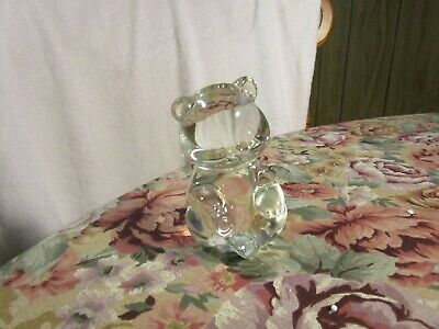 HEAVY~Crystal Clear Glass Bear Paperweight~~!!~QUALITY ITEM~!!