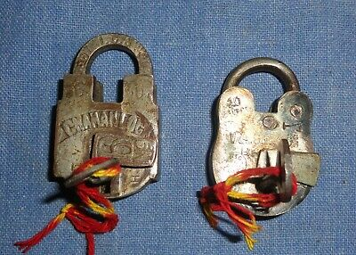 Vintage Old Collectible Decorative Solid Brass Padlock Lock Pair Original Key