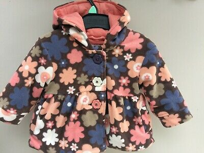 Baby Girls Next Fleece Jacket 6-9 Months Floral , Padded, Hooded, Lined