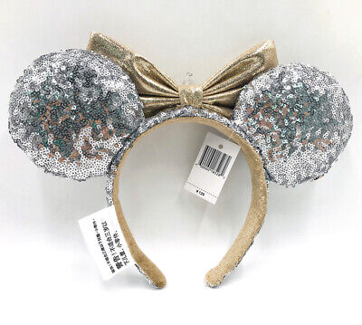 Castle Jewel Silver Disney Parks Sequins Bow Minnie Ears Mickey Mouse Headband