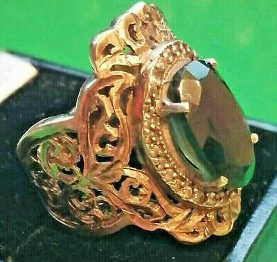 Gorgeous Vintage Ancient Ring PUR SILVER GOLD PLATED Green Stone Very Stunning