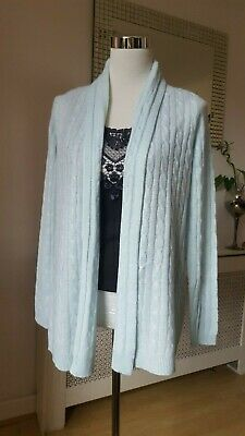 White Warren Baby Blue Fluffy Soft Cashmere Open Cardigan Size S BNWT