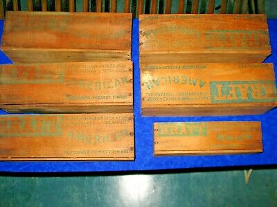 Lot Of Old Vintage Wood Kraft Cheese Box's Large & Small Size Chicago