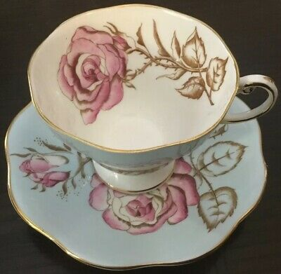 Vintage Foley Pale Baby Blue Cup Saucer Cabbage Pink Rose~Staffordshire~England