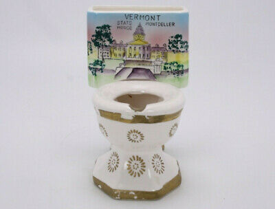 Vermont State House Mont Pelier Ceramic Souvenir Vtg Potty Toilet Cig Ashtray