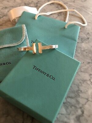 Tiffany & Co Sterling Silver  T- Square Hinged Bangle Bracelet .925