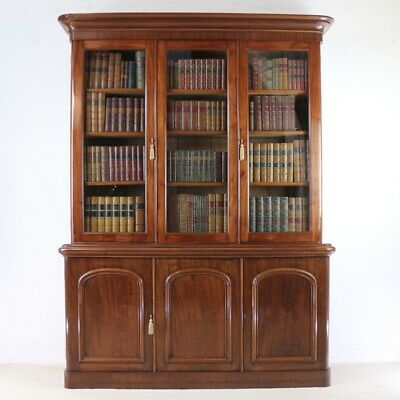Antique Victorian Mahogany Three Door Bookcase